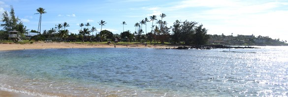 A View of the lagoon at Poipu Beach, Kawaii, Hawaii