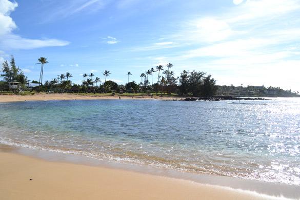 A View of the lagoon at Poipu Beach, Kawaii, Hawaii