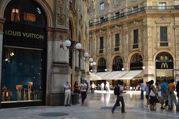shopping street in Milan