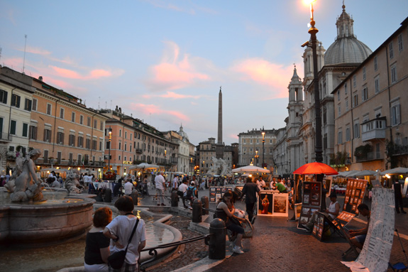 strolling the Piazza Navona at dusk