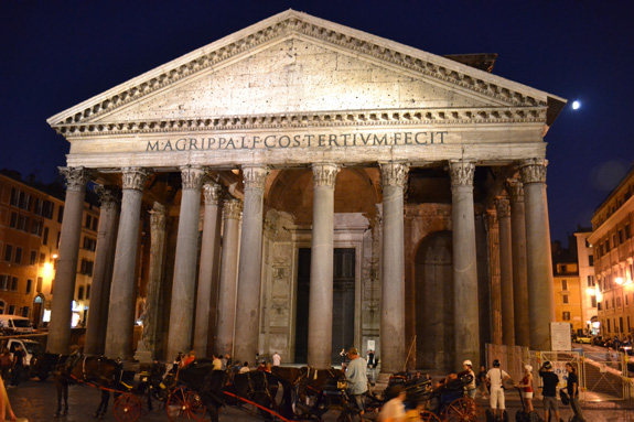 A view of the Pantheon in Rome, Italy at night