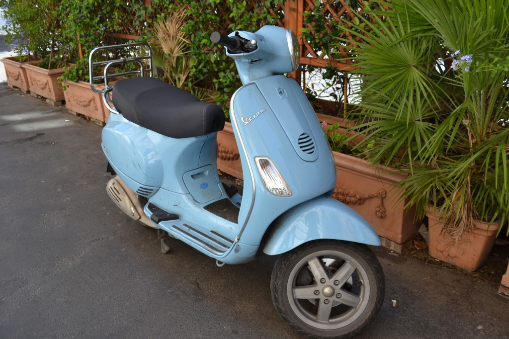 the blue Vespa