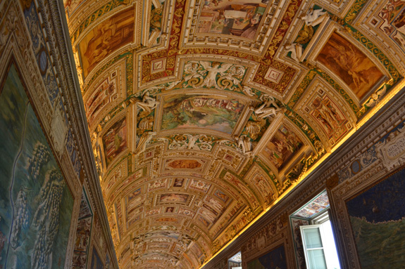 One of the ceilings in the Vatican Museum