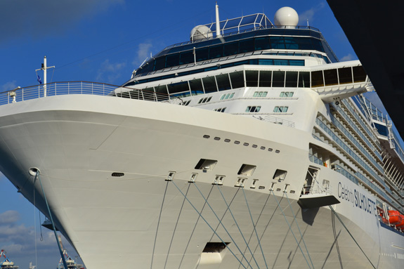 The bow of a big cruise ship