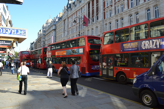 Dodging the buses in London