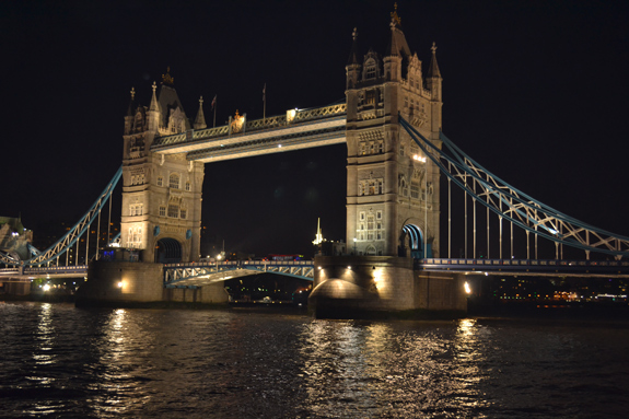 London's Tower Bridge lit up at night
