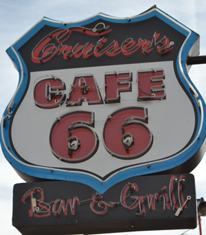 neon sign for Cafe 66 in Williams, AZ