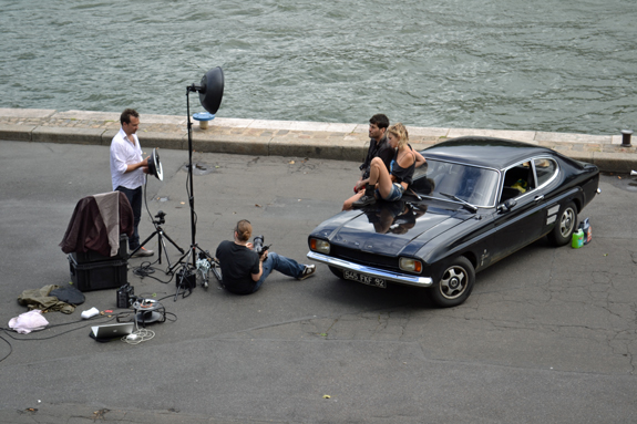 models on a car in Paris, France
