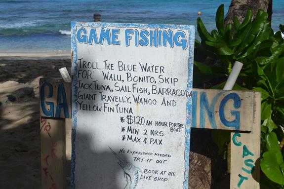 Game fishing sign at Octopus Resort