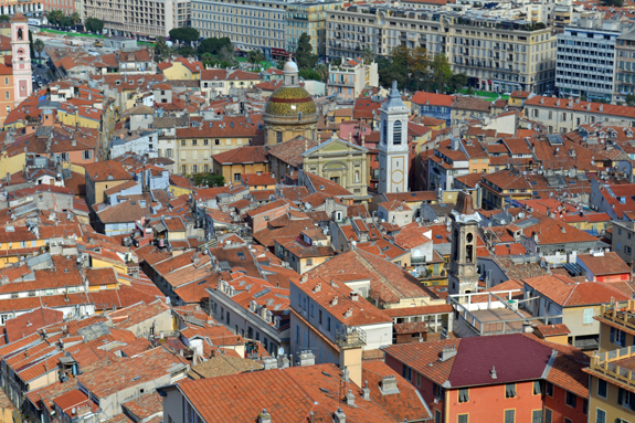 Roof view in Nice, France