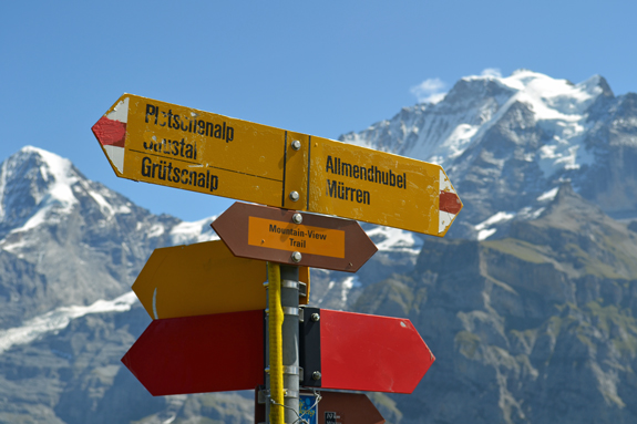 Swiss hiking signs