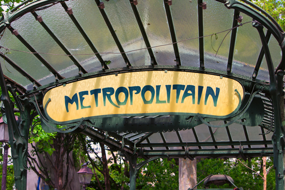 The metro sign at Abbesses in Montmartre, the oldest Metro stop in Paris.