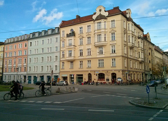 Munich street scene.