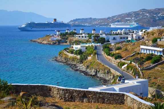 Mykonos view of windmills
