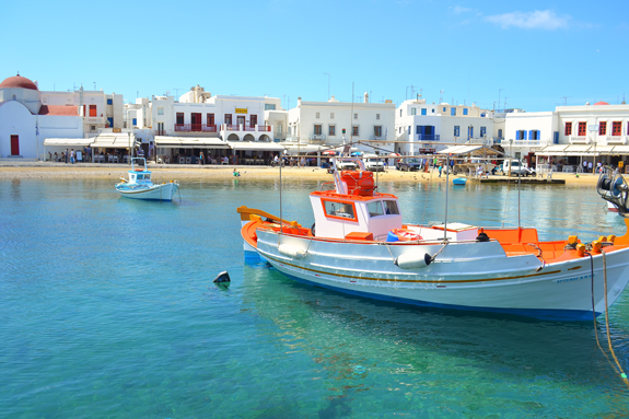 Mykonos town harbor view