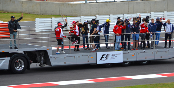 Race car drivers at British Grand Prix